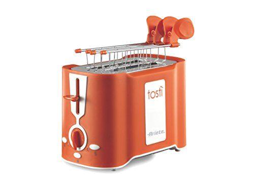 Ariete 124 Tostì - Tostapane 2 fette, Pinze acciaio inox, Vassoio raccoglibriciole removibile, Funzione scongelamento, 6 livelli di doratura, 500W, Arancio