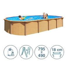 piscine italia piscina fuori terra in acciaio abak effetto legno osmose 795x490x132 cm