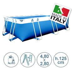piscine italia piscina fuori terra con tubolari laguna basic 4x2 m - h.125 cm