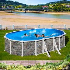 piscine italia piscina fuori terra gre in acciaio ovale 500x300x1,32 corcega kitprov508po