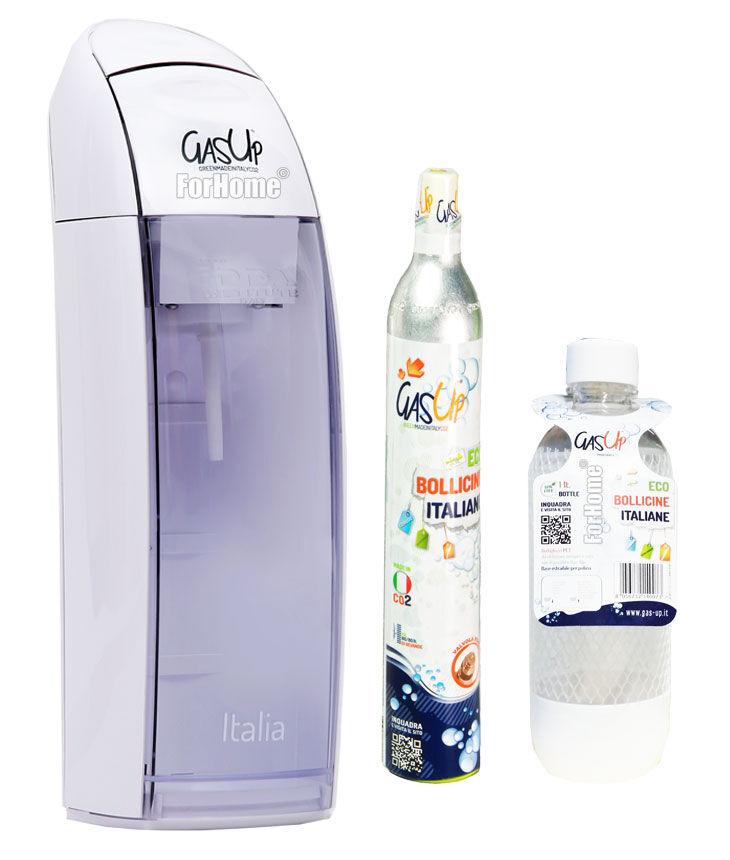 Forhome Gasatore Acqua Gas-Up Italia White + 1 Bott. Da 1lt + 1 Bombola Co2 Da 450gr