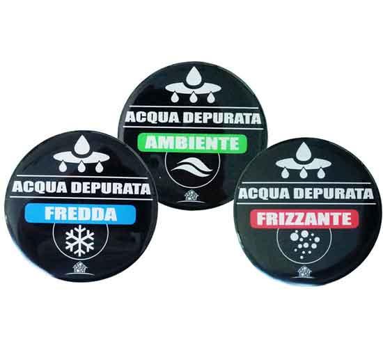 Set 3 Etichette Forhome® Adesive Resinate Acqua Fredda / Frizzante / Ambiente Pe