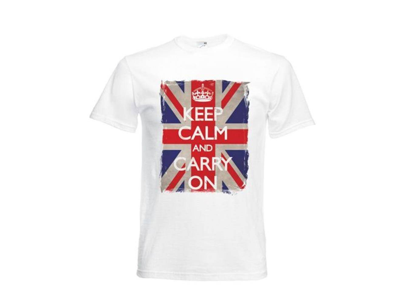 Atelier del Ricamo T-Shirt Uomo Stampa Keep Calm And Carry On
