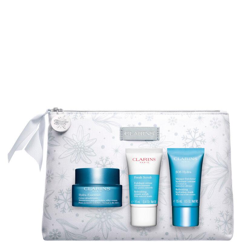 clarins hydra-essentiel crème désaltérante - pelle normale e secca confezione 50 ml crema viso giorno + 15 ml scrub viso + 15 ml maschera viso + be