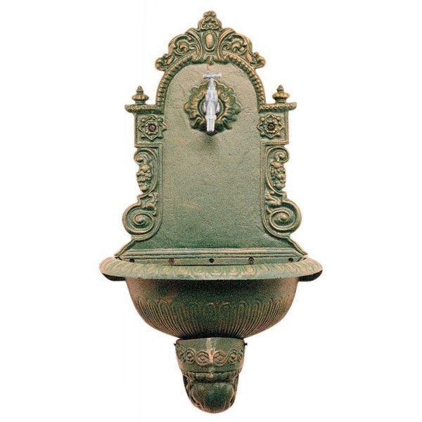 hidrobrico fontana a parete in ghisa antichizzata 40x50x23 cm verde