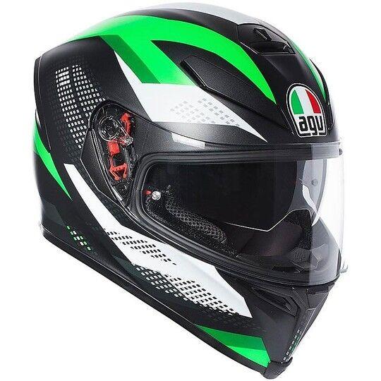 agv casco moto integrale agv k-5 s marble nero bianco verde opaco
