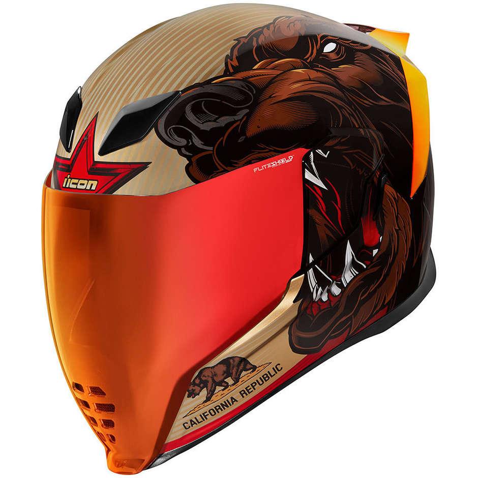 icon casco moto integrale icon airflite ursa major oro