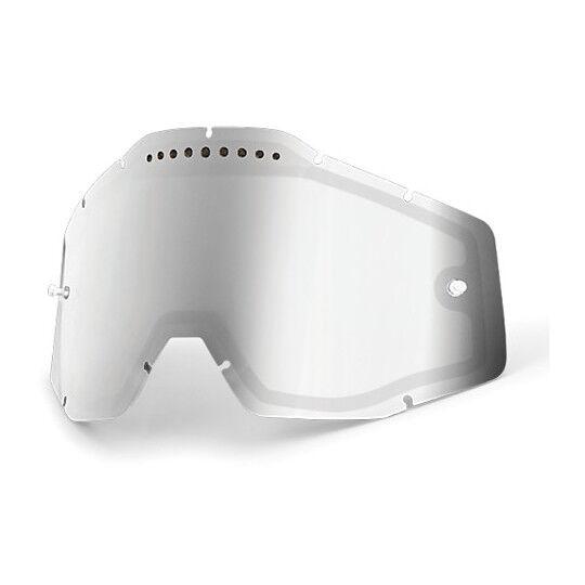 100% lente mirror silver dual ventilata originale per occhiali  racecraft accuri