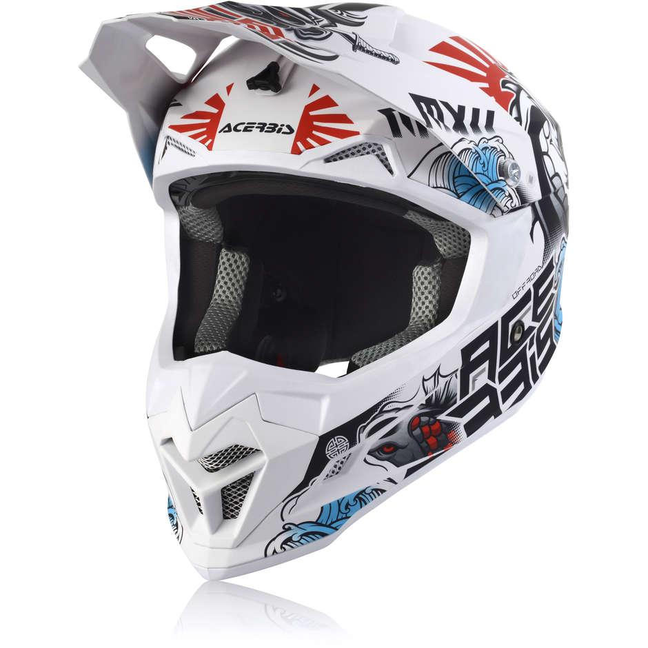 Acerbis Casco moto cross enduro acerbis profile 4 bianco blu rosso opaco