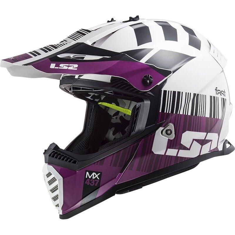 Ls2 Casco moto cross enduro ls2 mx437 fast mini xcode bianco viola