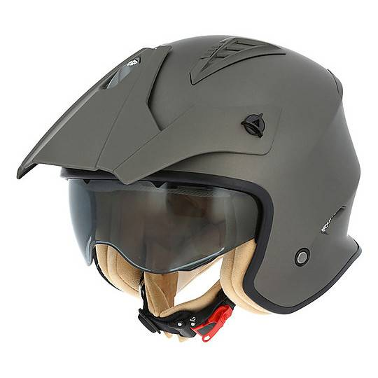 Astone Casco moto jet astone minicross con parasole marrone opaco