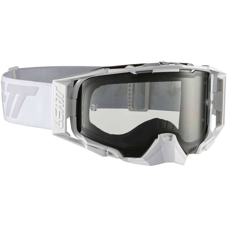Leatt Maschera moto cross enduro leatt velocity 6.5 bianco grigio lente light grey