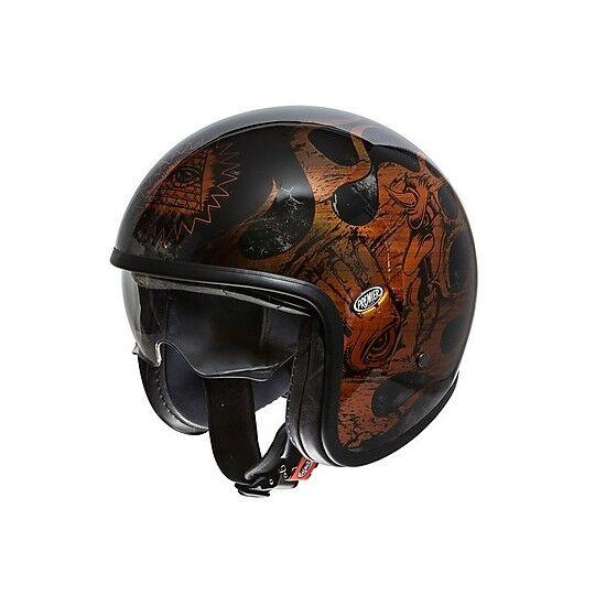 Premier Casco moto jet vintage in fibra premier vintage evo bd orange chromed nero lucid