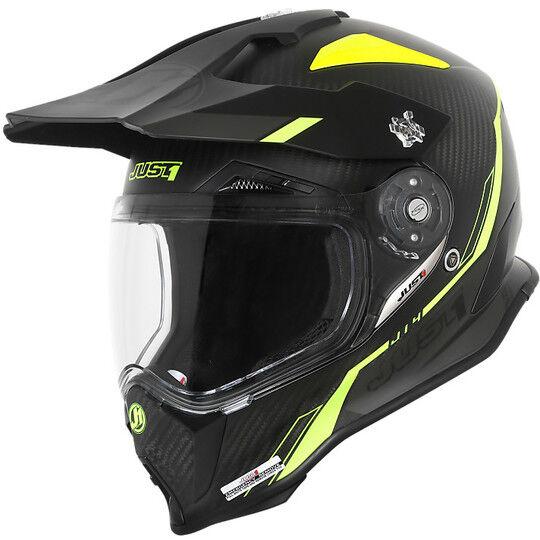 Just1 Casco moto cross enduro just 1 j14 adventure full carbon line giallo fluo opaco