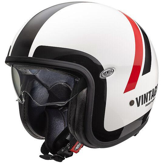 Premier Casco moto jet vintage in fibra premier vintage evo do8 bianco rosso