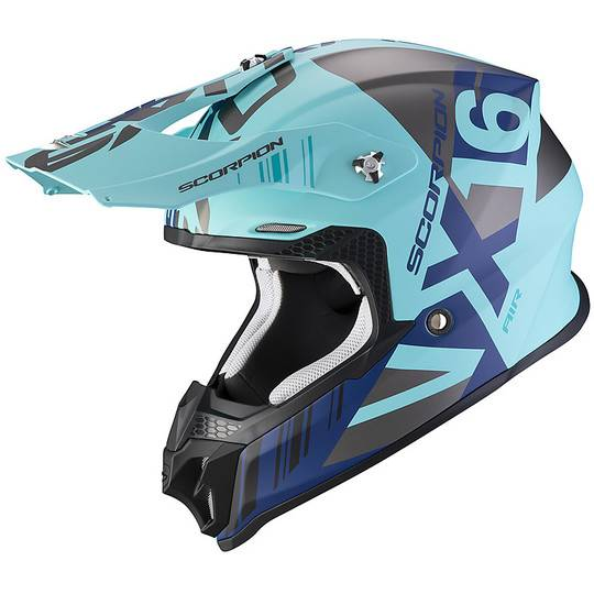 Scorpion Casco moto cross enduro scorpion vx-16 air mach blu silver opaco
