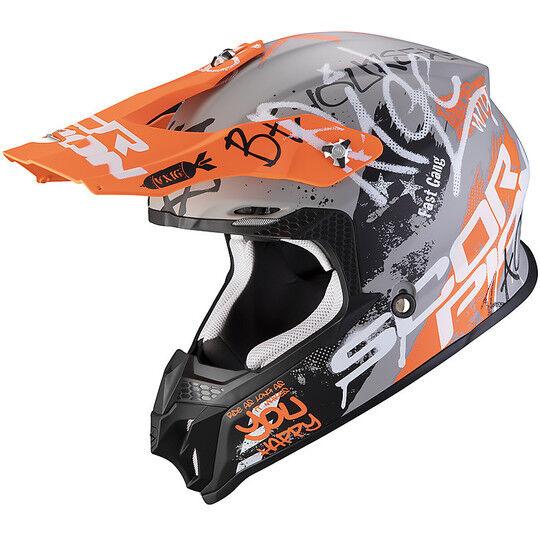 Scorpion Casco moto cross enduro scorpion vx-16 air oratio grigio opaco arancio