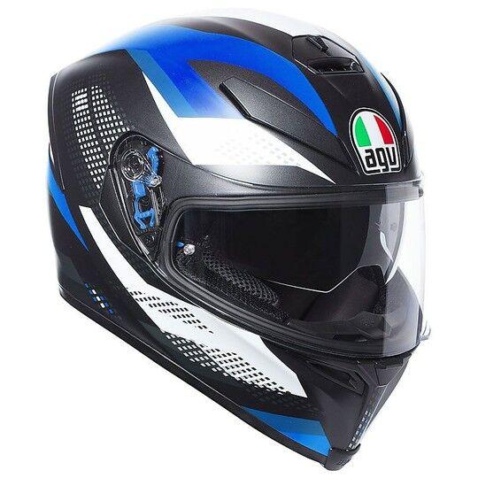 Agv Casco moto integrale agv k-5 s marble nero bianco blu opaco