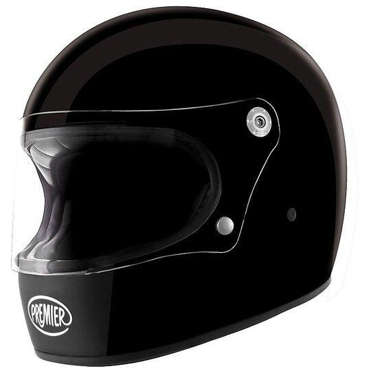Premier Casco moto integrale premier trophy stile anni 70 mono nero lucido