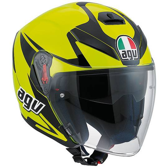 Agv Casco moto jet agv k-5 con visiera lunga in fibra multi threesixty nero giallo f