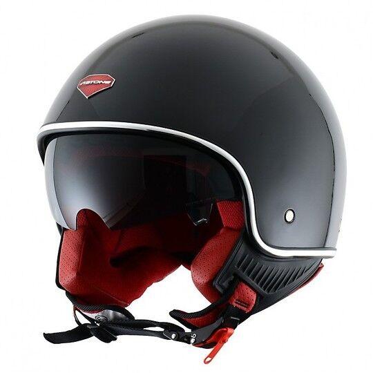 Astone Casco moto jet astone minijet retrò nero lucido