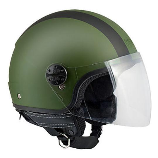 Cgm Casco moto jet cgm modello 101g verde gommato