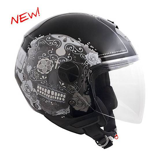 Cgm Casco moto jet con visiera lunga cgm cancun nero metal