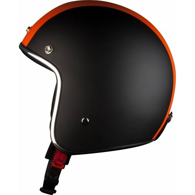 Bhr Casco moto jet custom bhr 711 arancio nero tre bottoni