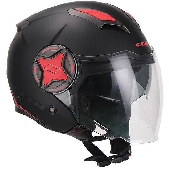 Cgm Casco moto jet doppia visiera cgm 129x illinois sport nero rosso opaco