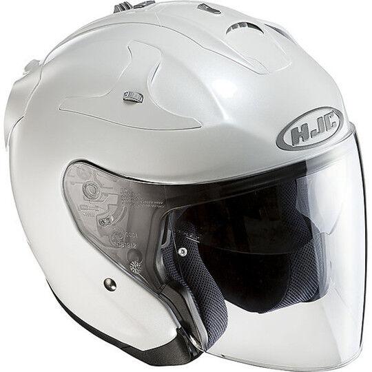 Hjc Casco moto jet hjc in fibra doppia visiera fg-jet bianco perlato