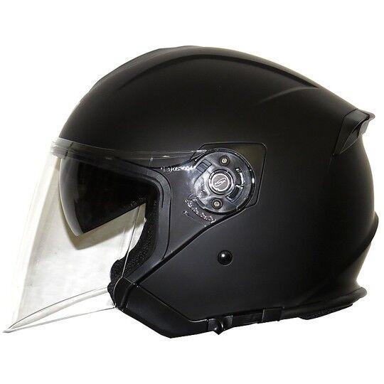 Origine Casco moto jet lungo origine palio doppia visiera nero opaco