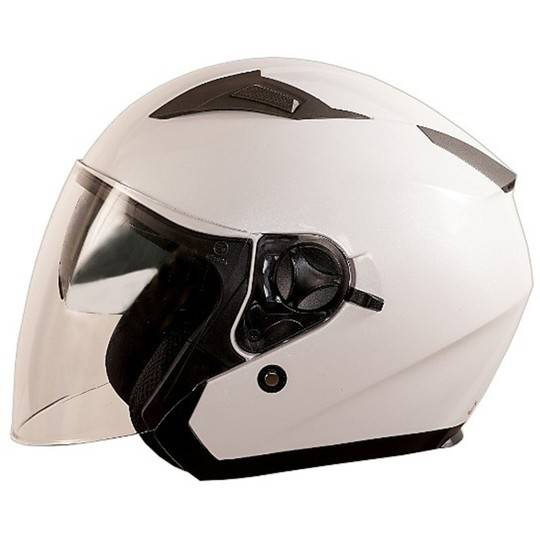 "One Casco moto jet one ""jettone"" doppia visiera bianco perla"