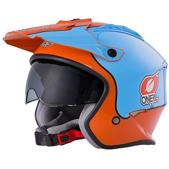 Oneal Casco moto jet oneal volt con visierino gulf arancio blu