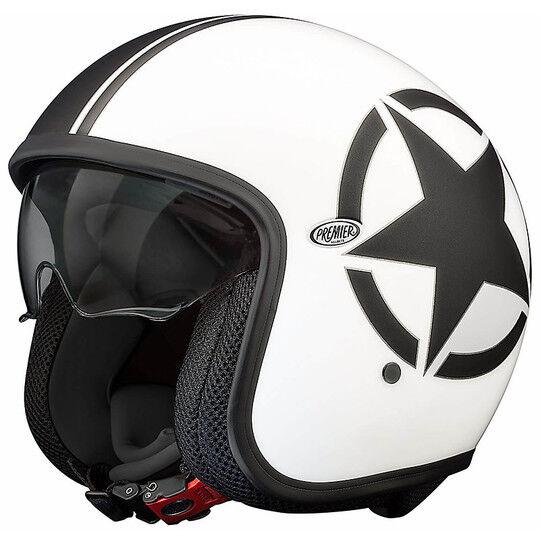 Premier Casco moto jet premier vintage in fibra con visierino integrato star 8 matt