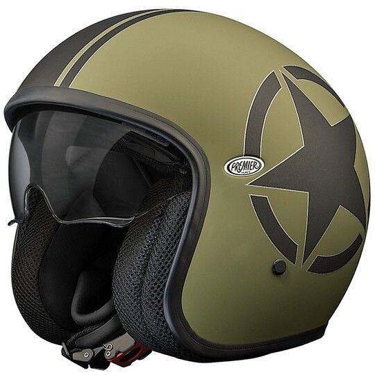 Premier Casco moto jet premier vintage in fibra con visierino integrato star military