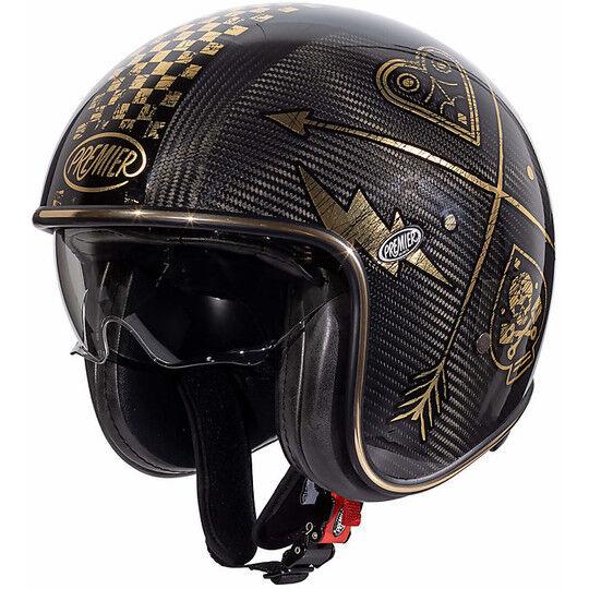 Premier Casco moto jet vintage in carbonio premier vintage evo carbon nx gold chromed
