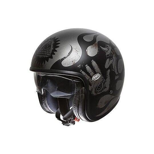 Premier Casco moto jet vintage in fibra premier vintage evo bd 17 bm argento nero