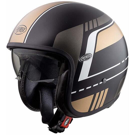 Premier Casco moto jet vintage in fibra premier vintage evo bl19 bm nero oro opaco
