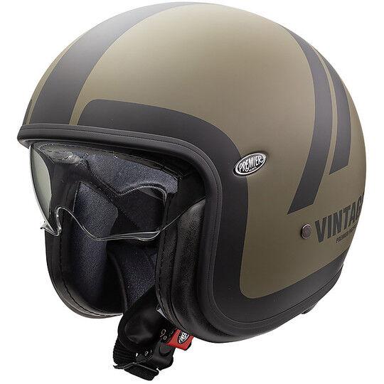 Premier Casco moto jet vintage in fibra premier vintage evo do military green bm opaco