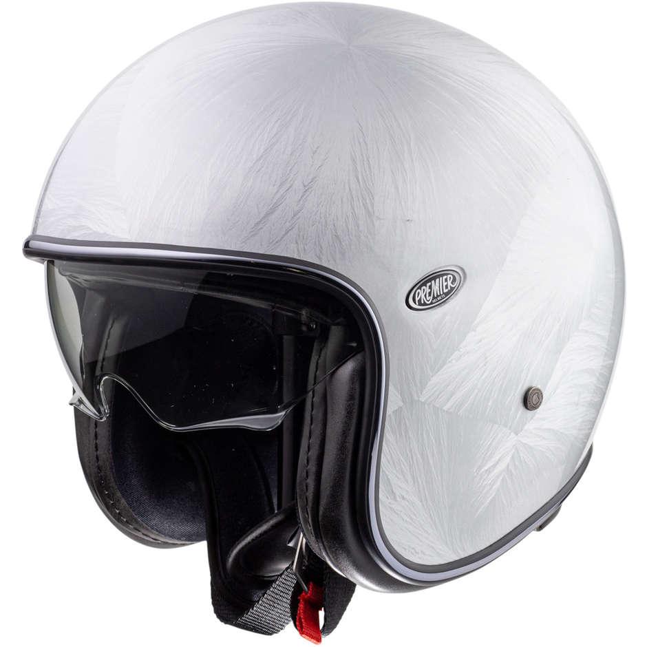 Premier Casco moto jet vintage in fibra premier vintage evo dr bianco