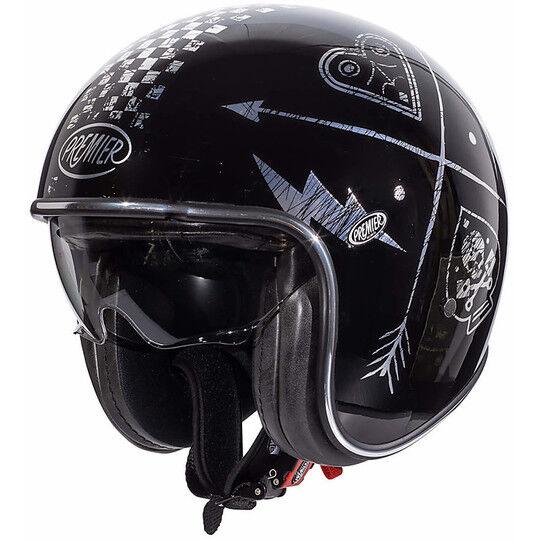 Premier Casco moto jet vintage in fibra premier vintage evo nx silver chromed nero silve