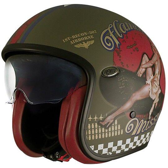 Premier Casco moto jet vintage in fibra premier vintage evo pin up military green bm opa