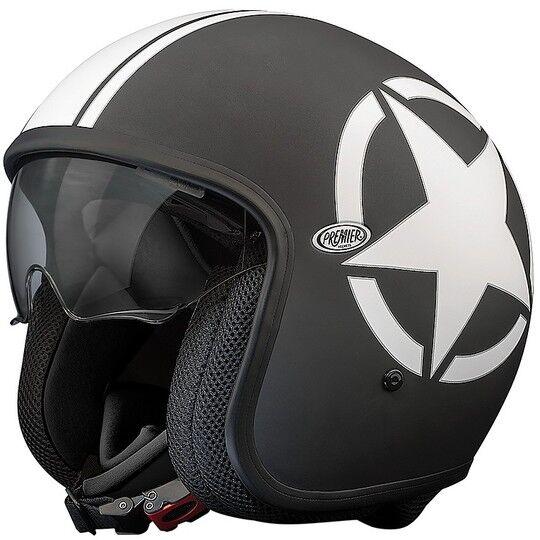 Premier Casco moto jet vintage in fibra premier vintage evo star 9 bm nero bianco opaco