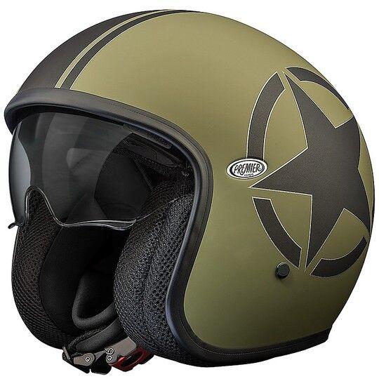 Premier Casco moto jet vintage in fibra premier vintage evo star military green bm verde