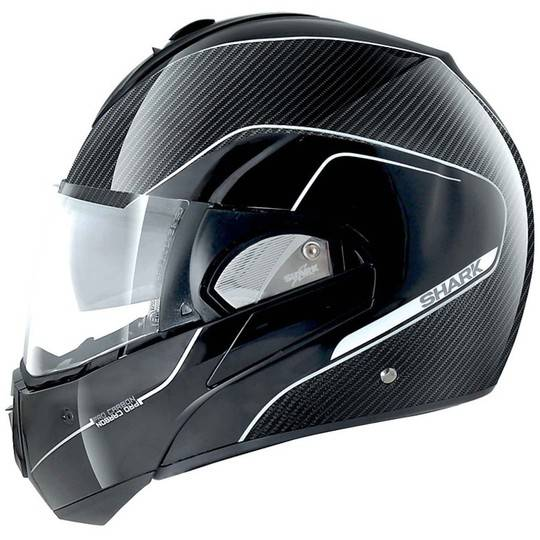 Shark Casco moto modulare apribile shark evoline pro carbon nero argento