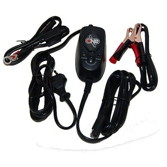 one caricabatterie e mantenitore batteria per auto, atv moto, slitte e caravan