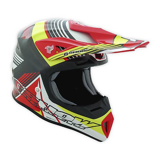 Fm racing Casco moto cross enduro o'show fm racing in fibra f9 composite nero rosso