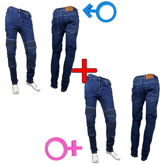 Senza marca Kit risparmio - coppia pantaloni jeans uomo donna prexport freeway rinforzati