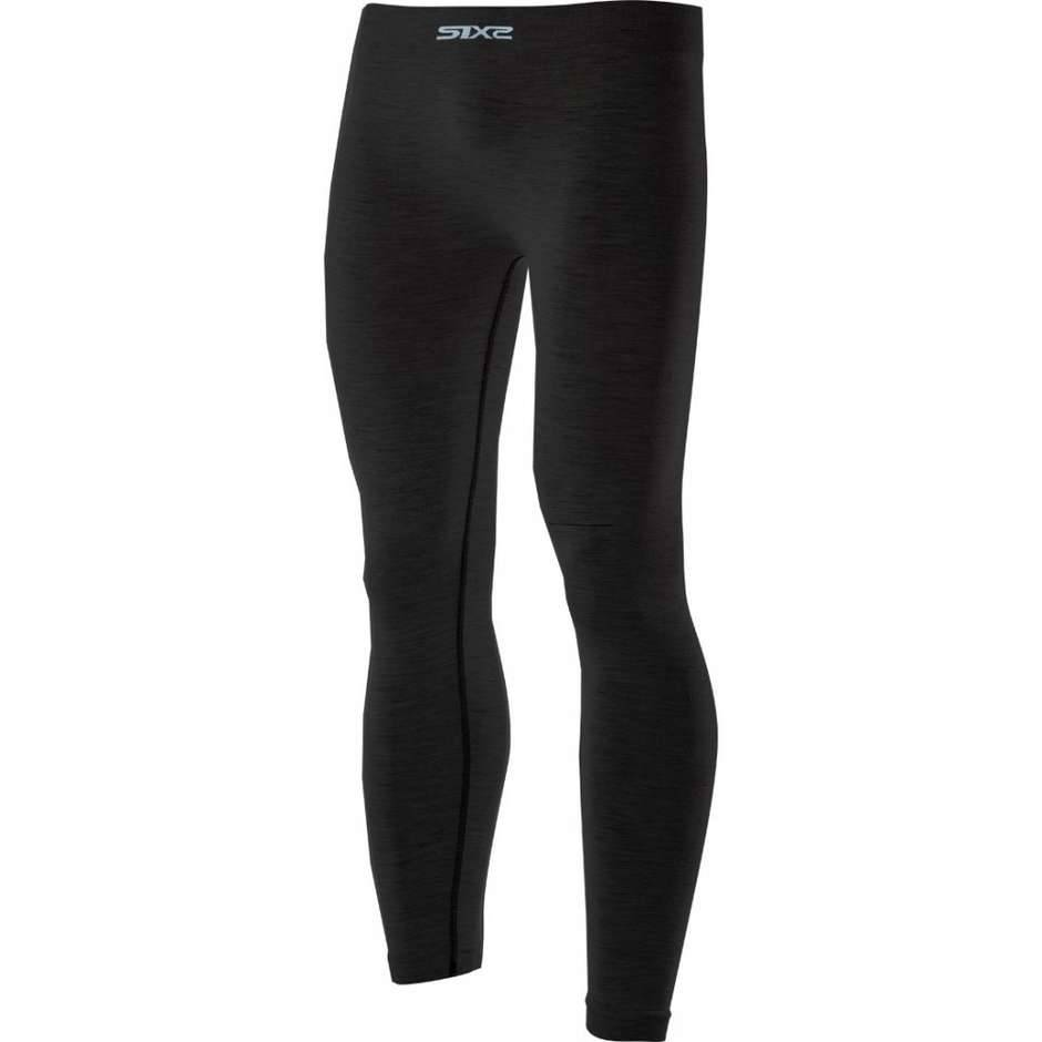 sixs pantaloni leggings lunghe sixs pnx merinos carbon wool nero