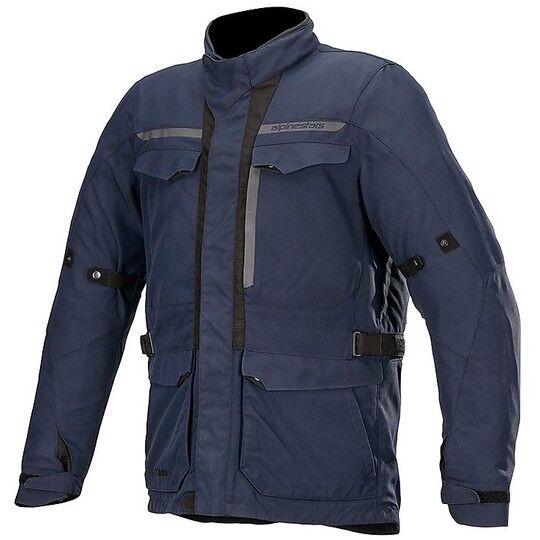 alpinestars giacca moto in tessuto alpinestars barcelona drystar blu navy